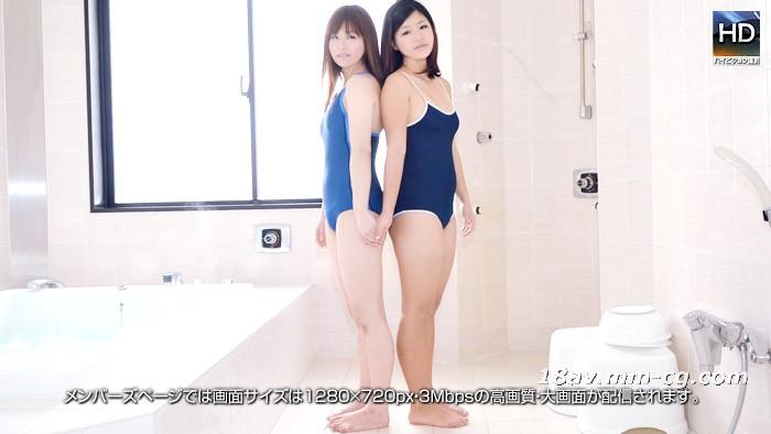 最新の1000人斩150209巨乳水着レズビアン浴室3Pブルー